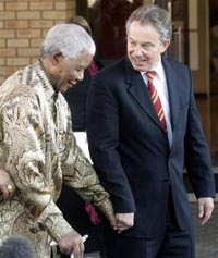 Prime Minister Blair arrives for talks with President Mbeki
