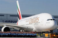 Emirates Airlines receives its first of 58 Airbus A380 superjumbo jet