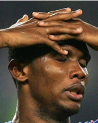 Eto'o was injured as he took a shot just two minutes after