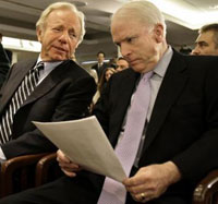 Democratic Senator Lieberman backs up Republican McCain