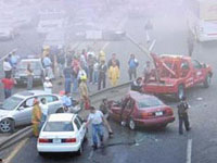 Nine cars and trucks crashed on Egyptian highway