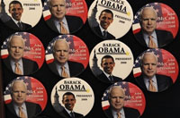 McCain and Obama fully engaged in creating unflattering caricatures of each other