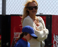 Pamela Anderson appears to be a soccer mom at heart