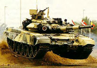 Russian T-90 tank prepares for take off