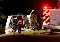 Charter bus runs off highway in Dallas, killing 12