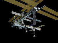 Space station astronauts inspect defective mechanisms at orbiting complex
