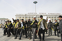 Protesters from rival civic groups face off in Mongolia