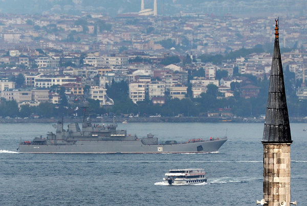 Turkey reportedly closes Bosphorus for Russian warships. Russian ship passing through Bosphorus