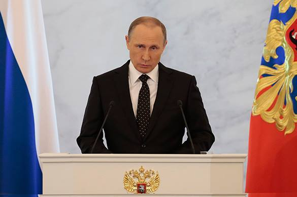Putin: Russians believe in strong Russia and their future. Vladimir Putin