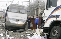 Truck and train collide in France, driver killed