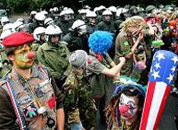 Violent protests meet Bush at G8 summit