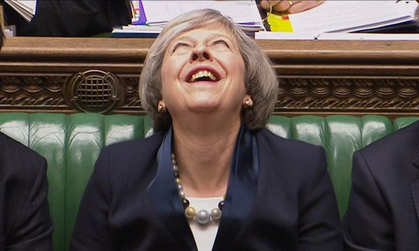 British Prime Minister Theresa May breaks into diabolical laughter. 59937.jpeg