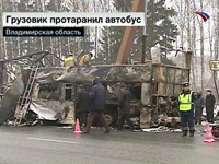 Fourteen people burn alive as cargo truck slams into passenger bus at high speed