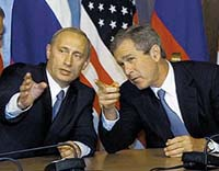 Putin should not hyperventilate about US missile defense system, Bush says