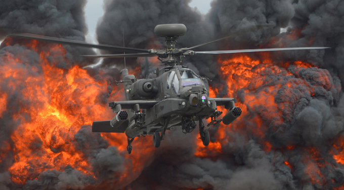 AH-64 Apache: Flying tank killer It features a nose-mounted sensor suite for target acquisition and night vision systems. It is armed with a 30 mm (1.18 in) M230 chain gun carried between the main landing gear, under the aircraft s forward fuselage apache_tank