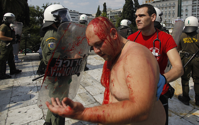 Greek police use tear gas against protesters Public transport workers, lawyers, public hospital doctors and dock workers have also declared they will join the strike action on Wednesday, Russia Today reports  greece