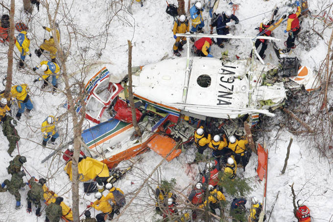 Tragedies and disasters of the week A rescue helicopter carrying nine people crashed in snow-covered mountains in central Japan during a training flight Sunday, leaving at least three people dead and four missing. disasters