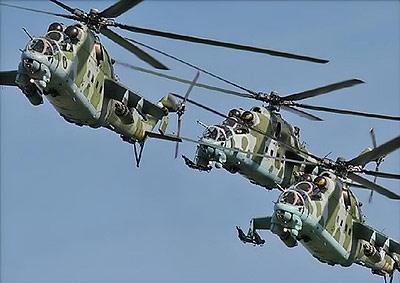 """The flying Russian """"Crocodile,"""" Mi-24 chopper"""