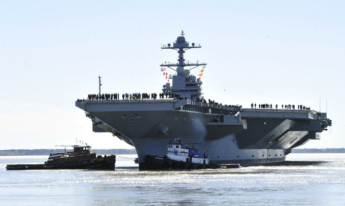 Gerald Ford: US supercarrier The keel of Gerald R. Ford was laid down on 13 November 2009.Construction began on 11 August 2005 gerald_ford