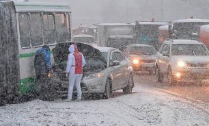 In Vladivostok, sudden advent of winter brings game of 'car curling'