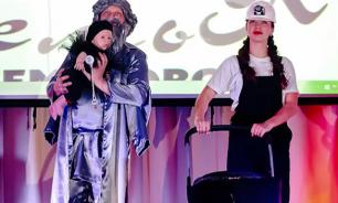 Russian parents dress their baby as piece of coal to win family contest