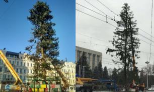 Ugly Christmas tree in Kiev's center shocks Ukrainians