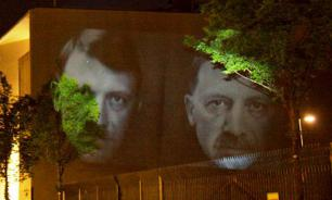 Turkey's Erdogan appears as Hitler on Turkish Embassy in Berlin