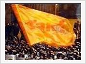 Yushchenko triumphant at the victory of orange revolution