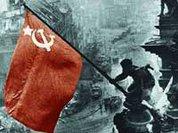 Red banner of Victory splits Ukraine