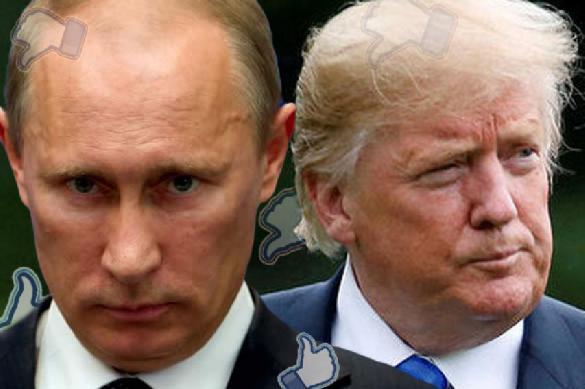Vladimir Putin talks to Donald Trump