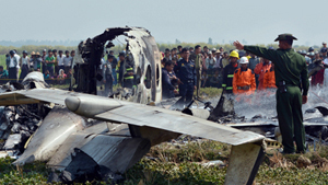 Four Myanmar military personnel were killed and one survived Wednesday when an air force utility aircraft crashed after taking off from the airport in the capital Naypyitaw. The dead included a major, two captains and a corporal. The sole survivor was another corporal who has been hospitalized. A farmer said he was working when he saw the plane crash, and ran over to it to try to break one of its windows with a spade in order to get the passengers out