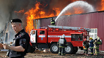 Massive fire at construction market in Moscow