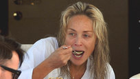 Sharon Stone appeared on board a Roberto Cavalli yacht without make up in Cannes 