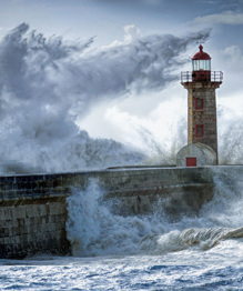 Giant waves of Nazare village, Portugal