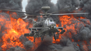The AH-64 Apache is an American four-blade, twin-turboshaft attack helicopter with a tailwheel-type landing gear arrangement and a tandem cockpit for a two-man crew. It features a nose-mounted sensor suite for target acquisition and night vision systems