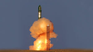 The launch of Russia's Voyevoda ICBM