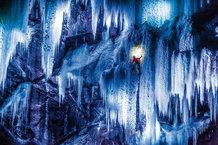 Climbers on icefalls