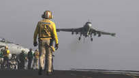 The USS George H.W. Bush, an aircraft carrier, was used to launch F/A-18F Super Hornets to carry out airstrikes in northern Iraq on Friday