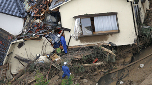 Rain-sodden slopes collapsed in torrents of mud, rock and debris Wednesday on the outskirts of Hiroshima city, killing at least 36 people and leaving seven missing. Hillsides were swept down into residential areas in at least five valleys in the suburbs of the western Japanese city. Hiroshima prefectural police said 36 people were confirmed dead and at least seven others were missing