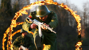 Soldiers of Chinese army in action