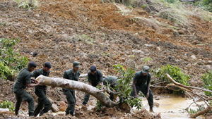 There was no hope of finding survivors after a mudslide tore through a tea plantation. Initial reports from Sri Lanka s disaster management centre said some 250 people were missing. Heavy monsoon rains caused the mudslide, which wiped out 120 tea workers  homes in Badulla district, about 220km east of Colombo. About 500 military personnel and civilians resumed the rescue operation