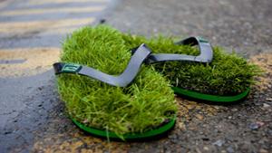 Always green and grassy flip flops