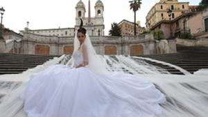 Wedding dress with longest bridal train