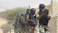 Chadian troops participate in an hostage rescue exercise at the end of the Flintlock exercise in Mao, Chad, Saturday, March 7, 2015. The U.S. military and its Western partners conduct this training annually and set up plans long before Boko Haram began attacking its neighbors Niger, Chad and Cameroon