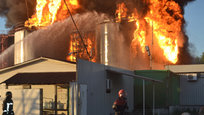 A powerful explosion took place at a petroleum base near Kiev. The fire is as many as 100 meters high