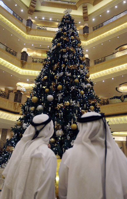 The Emirates Palace hotel in Abu Dhabi is boasting the world s most expensive Christmas tree.